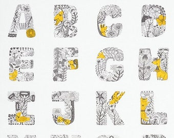 """Lettered Sunflower Alphabet 24"""" Fabric Panel by Robert Kaufman AXZ-17571-125"""