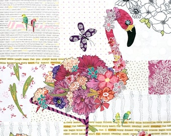 Fabric Collage Kit for Teeny Tiny Flamingo // Laura Heine's Collage Pattern FBWTT3 // Certified Laura Heine Instructor