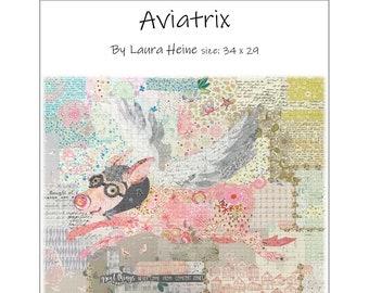 Aviatrix the Flying Pig Collage Quilt Pattern by Laura Heine for Fiberworks FBWAVIATRIX