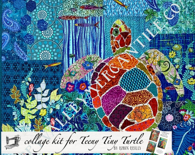 Featured listing image: Collage Quilt Kit Teeny Tiny Turtle #4 for Laura Heine's Collage Pattern FBWTT4 // Certified Laura Heine Instructor