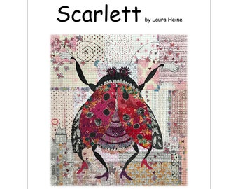 Scarlett the Lady Bug Collage Quilt Pattern by Laura Heine for Fiberworks FBWHSCARLETT