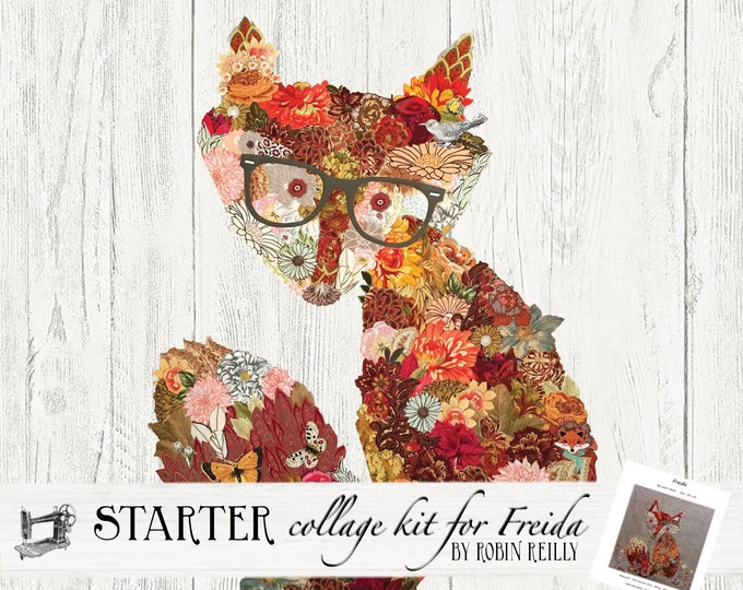 Featured listing image: Fabric Starter Collage Quilt Kit for Laura Heine's Collage Pattern Frieda FBWFREIDA