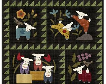 Lambies in Pajammies Precut Pre Fused Quilt Kit // Woolies Flannel // Maywood Studio KIT-MASLIP-PC