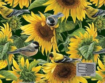 ONE YARD CUT Farm Life Sunflower Fabric by David Textiles
