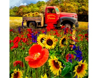 From the Field Wildflower Red Truck Farm Fabric Panel // Four Seasons AL-4475-0C-1