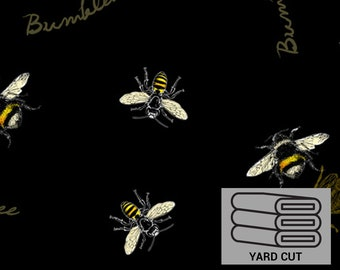 ONE YARD CUT  Follow the Sun Allover Bumblebees Fabric by David Textiles