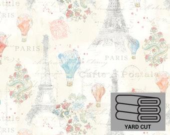ONE YARD Cut Lighthearted in Paris Eiffel Tower Fabric by David Textiles WA-4250-8C-1