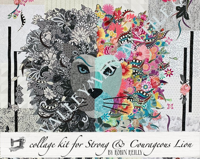Featured listing image: EXCLUSIVE Strong & Courageous Lion Collage Fabric Kit with Pattern // Certified Laura Heine Instructor