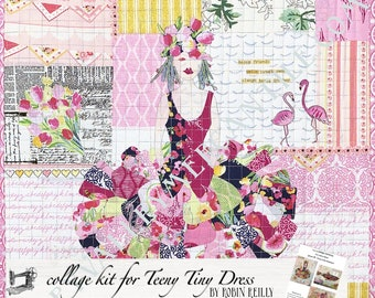 Collage Quilt Kit Teeny Tiny Dress #1 for Laura Heine's Collage Pattern FBWTT1 // Certified Laura Heine Instructor