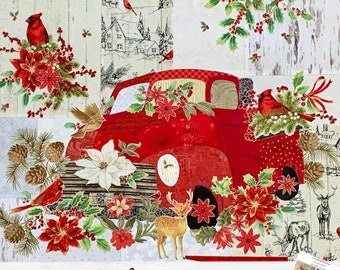 Teeny Tiny Truck #2 // Red // Christmas Fabric Collage Quilt Kit for Laura Heine's Collage Pattern FBWTT2