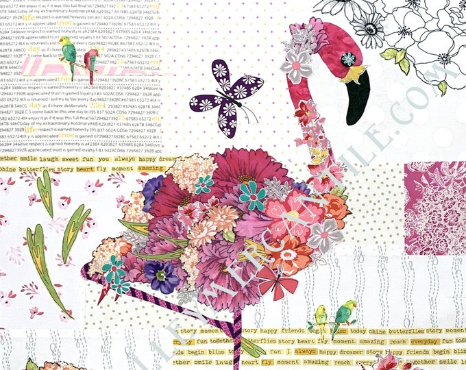 Featured listing image: Fabric Collage Kit for Teeny Tiny Flamingo // Laura Heine's Collage Pattern FBWTT3 // Certified Laura Heine Instructor