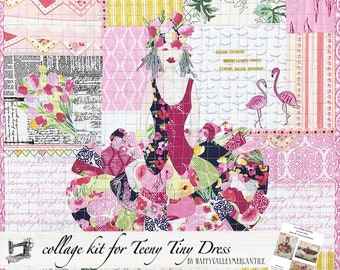 Teeny Tiny Dress #1 Fabric Collage Quilt Kit for Laura Heine's Collage Pattern FBWTT1