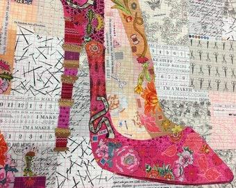 Pink Pump Collage Pattern by Laura Heine for Fiberworks FBWPINKPUMP