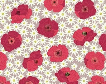 1/2 yd Grandma's Cottage Garden Red Poppies on Blush Fabric By Lewis & Irene LEIA197-2