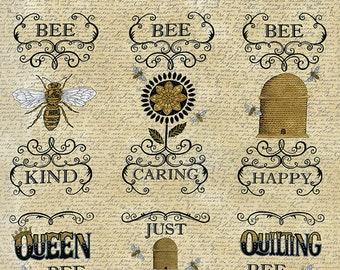 "Bee Creative Bee Blocks 23"" Panel by Deb Strain for Moda Fabrics 19750 11"