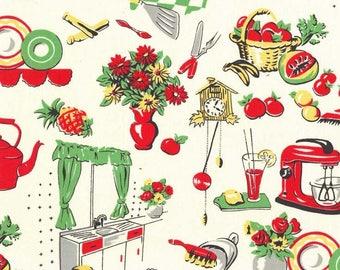 1/2 yd Fifties Kitchen Fabric by Michael Miller Fabrics CX1595