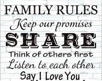 "24"" Family Rules Panel by Timeless Treasures Fabric C4427-DOVE"