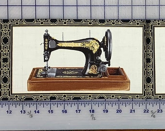 REMNANT Black Singer Sewing Machine Fabric Panel w/Metallic by Robert Kaufman AGZM15639199