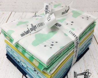 Believe Fat Quarter Bundle by Sandra Clemons for Michael Miller Fabrics Aqua MD7849