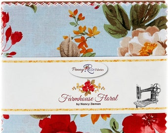 Farmhouse Floral Stacker/Layer Cake by Nancy Zieman for Penny Rose/Riley Blake Fabrics 10-6880-42