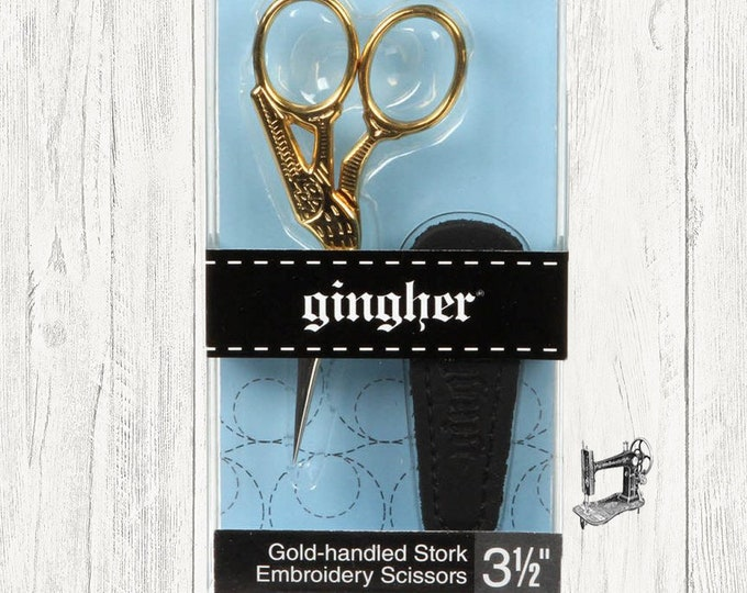 Gingher Gold Handled 3 1/2in Stork Embroidery Scissors 04-012392