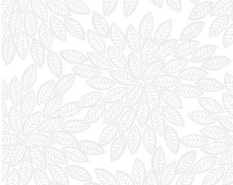 1/2 yd Pippit Moesby Feather Floral by 3 Wishes Fabric 12306-WHITE