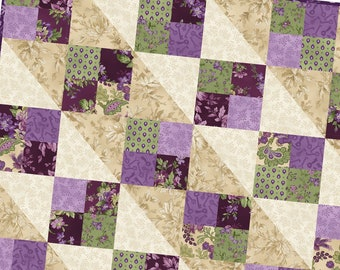 Aubergine Four Square Precut Quilt Pod® Kit Pod by Maywood Studio MAS07 AUB