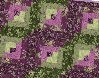 Aubergine Log Cabin Precut Quilt Kit Pod by Debbie Beaves for Maywood Studio POD-MAS02-AUB