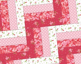 Sweet Pea Flannel Pod Precut Rail Fence Quilt Kit by Maywood Studio POD-MAS03-SWPF