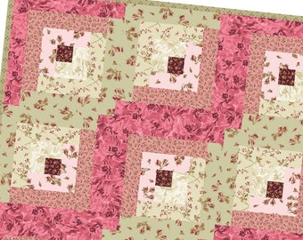 Burgundy & Blush Log Cabin Precut Quilt Kit Pod by Maywood Studio POD-MAS02-BUB