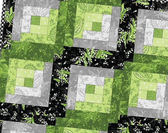 FREE Shipping Greenery Log Cabin Precut Quilt Kit Pod by Maywood Studio MAS02-GRE