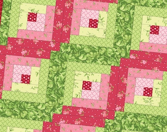Sweet Pea Flannel Log Cabin Precut Quilt Kit Pod by Maywood Studio POD-MAS02-SWPF