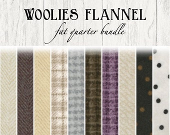 Woolies Flannel Fat Quarter Bundle by Bonnie Sullivan for Maywood Studio Fabric MASF18503 A