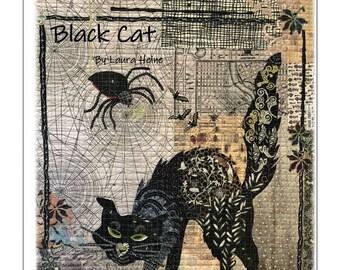 Black Cat Collage Quilt Pattern by Laura Heine for Fiberworks FBWBLACKCAT