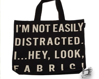 free shipping I'm Not Distracted Tote Bag by Moda & United Notions 963 63
