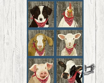 "23"" Barnyard Babies Farm Animal Fabric Panel by Two Can Designs for Andover AD-133-B"