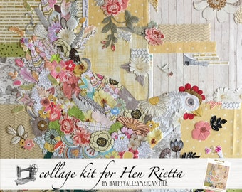 Hen Rietta Collage Fabric Kit for Laura Heine of Fiberworks Pattern FWLHHEN