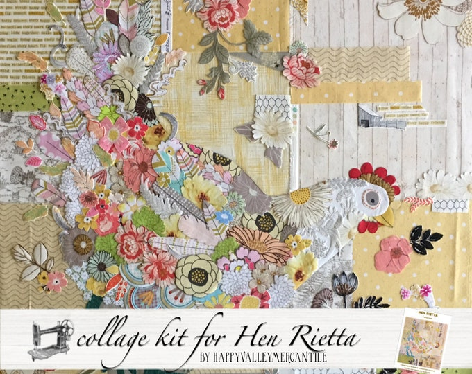 Hen Rietta Collage Fabric Kit for Laura Heine of Fiberworks Pattern FWLHHEN