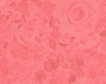 1/2 yd Fresh Picked Tonal Roses by Sue Zipkin for Clothworks Y2370-39 Coral