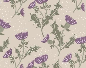 SALE A Walk in the Glen Purple Flower by Lewis & Irene LEIA89-4 PER yard