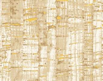 1/2 yd Uncorked Cotton Print Cork Like Appearance w/Metallic by Another Point of View for Windham Fabrics 50107M-39 Sandlewood