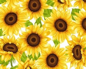 Sunny Sunflowers on White Fabric // StudioE 5574-46 by the Half Yard