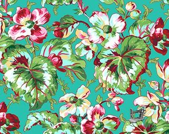 1/2 yd English Garden Begonia Aqua by Snow Leopard Designs for Free Spirit Fabrics PWSL054.AQUAX