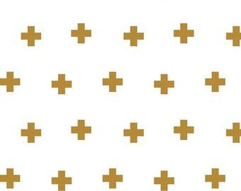1/2 yd Plus Print Double Gauze by Riley Blake G582 Gold