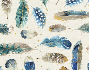 1/2 yd Majestic Birds Feather Fabric by Lisa Audit for David Textiles LA-0003-6C-2