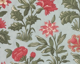 Under the Mistletoe Floral Fabric Frost // Moda 44070 14 by the Half Yard