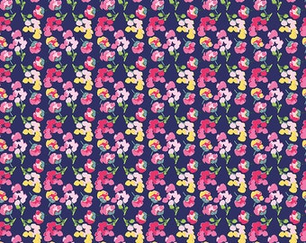 1/2 yd Fruitful Pleasures Navy Flowers Fabric by Lila Tueller for Riley Blake Designs C7643