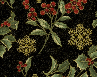 1/2 yd A Festive Season 2 Holly Sprigs Fabric by Jackie Robinson for Benartex 2658M-12