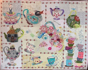Tea Party BOM Collage Quilt Kit for Laura Heine's Collage Pattern FBWTEA