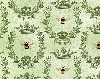 1/2 yd Le Bouquet Green Queen Bee Fabric by Wilmington Prints 3007 68471 775